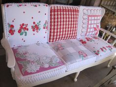 Cool cushion made with vintage tablecloths. Upcycle/Recycle/Repurpose vintag tablecloth, cushion covers, cushions, cottages, vintag redo, couches, porch, vintage linen, vintage tablecloths
