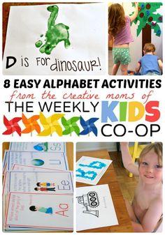 8 Easy Alphabet Activities + The Kids Co-Op - #kids #preschool #kbn #binspiredmama