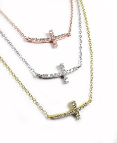 Curved Sideways Cross Necklace Tiny Horizontal by gemsinvogue