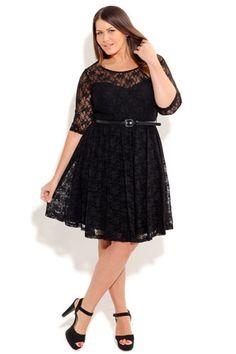 City Chic= Lacey Dress Black