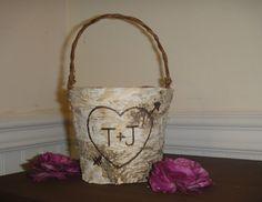 Rustic Woodland Birch Bark Flower Girl Basket by PNZdesigns, $19.50