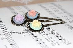 Flower Hairpins Trio Set Antique Bronze/Vintage by DeliciousMe, $8.00 set antiqu, flower hairpin