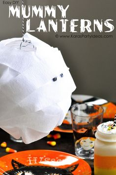 DIY Hanging Mummy Lanterns for your Halloween Party or craft! Via Kara's Party Ideas KarasPartyIdeas.com #halloweendecorations #halloweenpartyideas #mummy #lanterns