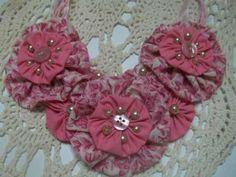 Pink Rose Garden Statement Bib Yo Yo Necklace Choker