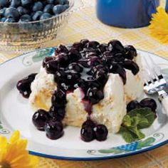 Blueberry Angel Dessert - This is a delicious and easy dessert made with a store bought angel food cake and canned pie filling; use your favorite flavor.