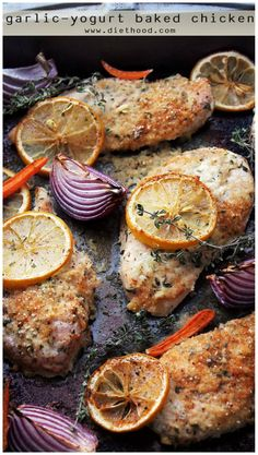 Flavorful, delicious baked chicken, marinated in a yogurt mixture with garlic and thyme! This will be your new favorite chicken din din!