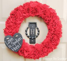 Burlap Wreath with Chalkboard Heart