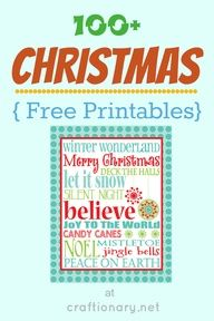 100 Best Christmas Ideas (Free Printables) {2} - Craftionary