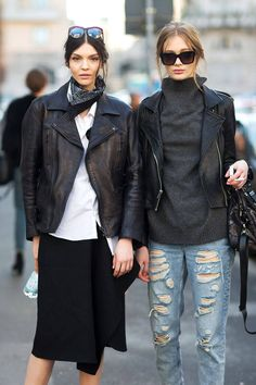 Street Style Milan Fashion Week Street Fall 2014 | More outfits like this on the Stylekick app! Download at http://app.stylekick.com milan, boyfriend jeans, fashion weeks, biker jackets, fashion styles, outfit, street styles, leather jackets, black