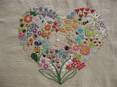 embroidered heart sampler