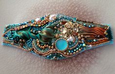 Beadembroidery and handyed-silk (CUFF, work-in-progress) Serena Di Mercione Creation