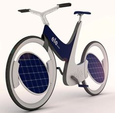 Bike with solar panels for wheels