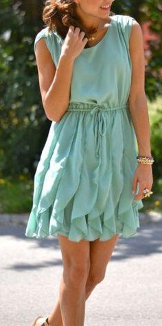Mint Pleated Chiffon Dress <3