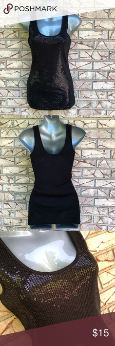 Express black sequin date night tank size small Express black sequin front tank top Like new, in perfect condition  Perfect date night tank with skinny jeans and a pair of heels Size small Express Tops Tank Tops