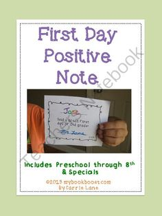 First Day of School Positive Note! Enter for your chance to win 1 of 2.  First Day Positive Note (19 pages) from My Book Boost on TeachersNotebook.com (Ends on on 8-28-2014)  Sending a little note home on the first day of school is a simple way to establish a positive connection with parents and families.