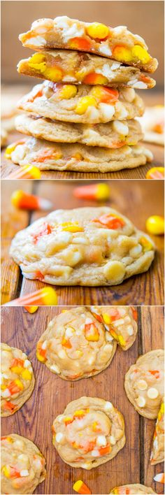 Candy corn and white chocolate chip cookies