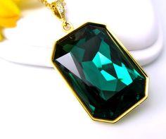 Emerald+Green+Necklace+Swarovski+Crystal+by+BeYourselfJewelry,+$29.99