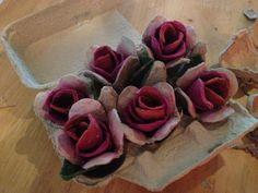 egg carton roses