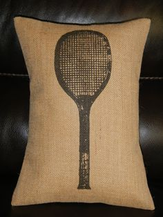 Vintage Tennis Racket Burlap  Decorative Pillow Sports Tennis