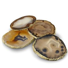 Gold-rimmed agate coasters from Williams-Sonoma.