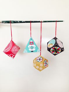 Christmas DIY paper ornament pack. Love the modern designs.