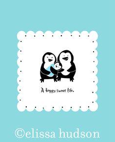 wall art, penguin famili, animals, anim seri, art prints, babi, penguins, families, sweet life