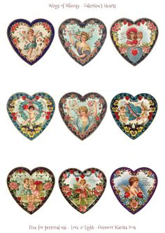 Wings of Whimsy: Valentine Hearts - DAY 2 - free for personal use #vintage #ephemera #printable #freebie #valentine #cherub #heart