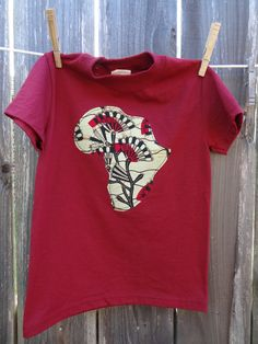 Africa Applique T-shirt in Maroon Size Kids Small. $15.00, via Etsy.