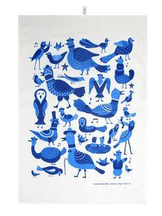 blue birds tea towel