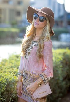 Sophie Elkus of Angel Food Style shows off her summer glow in shades of blush, copper and ivory.