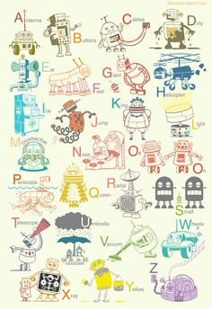 Large Robot Alphabet Art Print - wall decor for baby nursery or kids room - as seen on Apartment Therapy on Etsy, $48.00