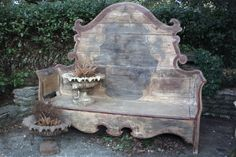 bed frames, idea, beauti bench, garden benches, outdoor, antique beds, furnitur, repurpos, diy
