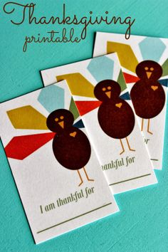 Free printable I'm Thankful For Cards. Great Thanksgiving activity!