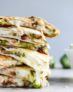 Brussels, Bacon + Bean Quesadillas. (with homemade blue cheese dip.)