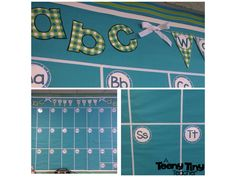 Word Wall - Turquoise and Lime Green (Flags are a Freebie)