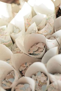Heart confetti made from maps?!