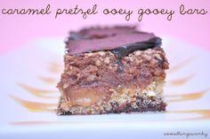 Caramel Pretzel Ooey Gooey Bars; something swanky