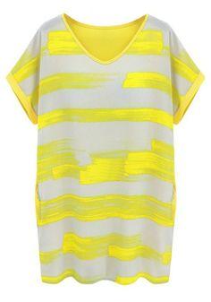 Yellow Patchwork Striped Short Sleeve Loose Chiffon Dress