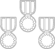 Thinking Olympics - award medals coloring page templates