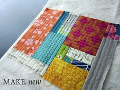 OMG her version of quilt-as-you-go is like string piecing! StitchedInColor, via Flickr - QAYG