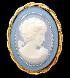 Large Vintage Blue Cameo Brooch Pin Estate Lovely | eBay