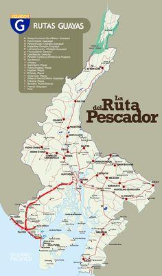 Mapa de la Ruta del Pescador en Guayas #ecuador #viajes #turismo