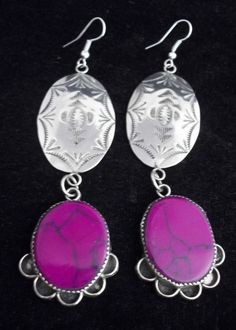 Navajo Silver and Sugilite Earrings Hand Crafted Long Signed S. *X969