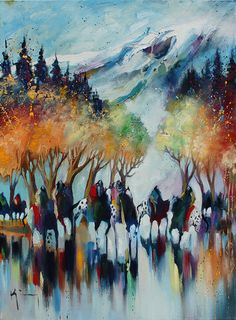 "Though the pass has filled with snow, these ""scouts"" keep moving on their journey under magical trees.  Bruce King's work will be on display until Aug. 27 at Waxlander Gallery. http://www.waxlander.com/event/42/Life-Rythms---Bruce-King-One-Man-Show"
