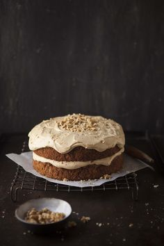 apple and banana cake with a caramel cream cheese frosting