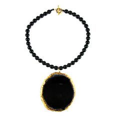 Agate Necklace Gold Black, £95, now featured on Fab.