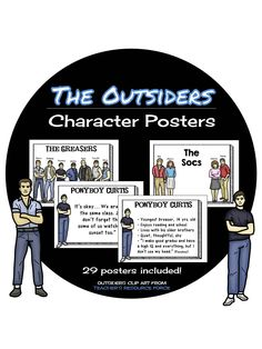 The Outsiders Character Posters - Great to use during a novel study! Includes a description and quote from each of the main characters. 29 posters! ($)