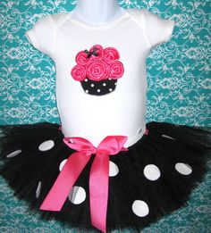 Thinking about this for Baby A's 1st birthday!  Baby's First Birthday 3D Cupcake Onesie with Polka Dot by Zobows, $39.00