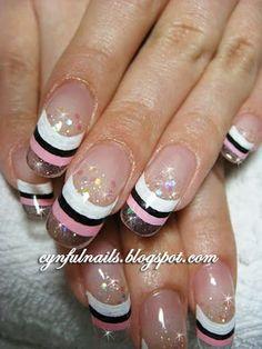 like the glitter-colour combo. #nails #nail #art #acrylics #gel