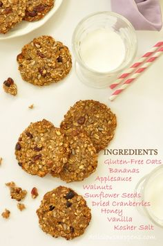 Gluten Free Oatmeal Cookies (heart healthy cookies - no sugar, no fat - sweetened with bananas and applesauce)  delicioushappens.com